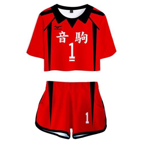 Haikyuu Nekoma High School No 1 Kuroo Tetsurou Jersey Sports Wear Uniform Top Shorts For Women Cosplay Costume