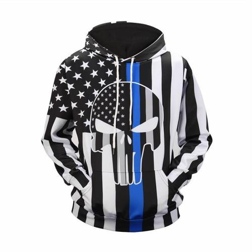 Exclusive: Usa Black And White Skull American Flag Hoodie