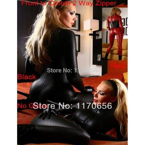 New 2 Colors Black Red Latex Leotard Sexy Body Suits for Women PVC Erotic Leotard Costumes Latex Bodysuit