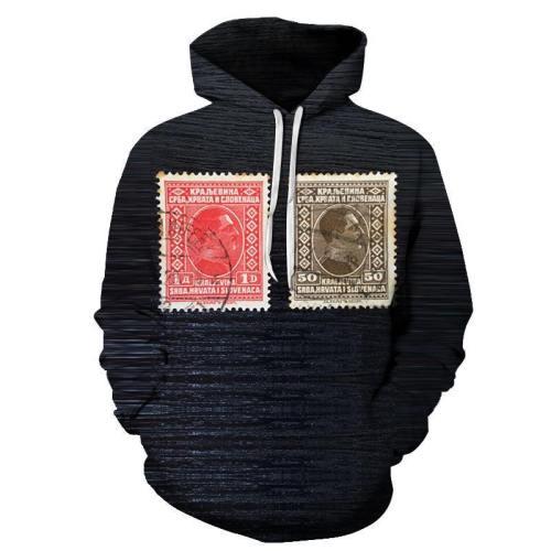 Vintage Black Stamp 3D Hoodie Sweatshirt Pullover