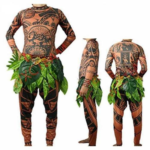 Moana Maui Tattoo Halloween Cosplay Costumes With Leaves Decor Blattern For Adult Mens Women