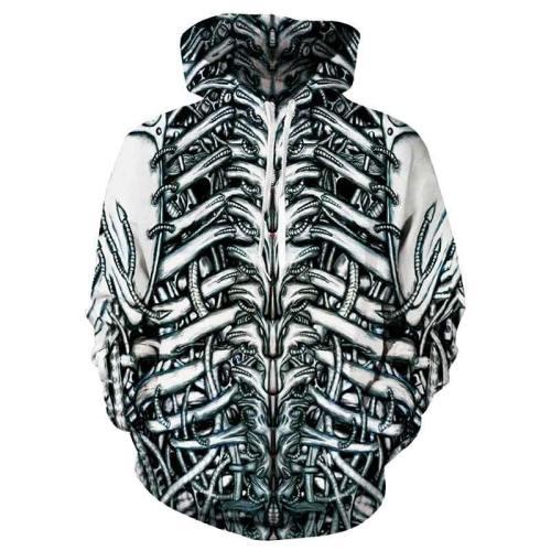 Mens Hoodies 3D Printed Skeleton Pattern Printing Hoodies