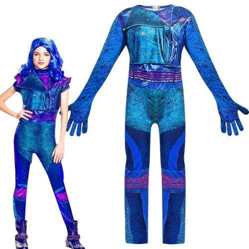 Descendants 3 Evie Cosplay Costume For Kids Girls Halloween Carnival Dress Jumpsuits