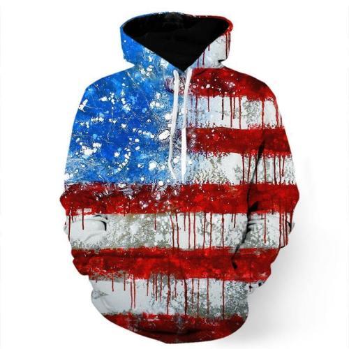 Paint Splash Usa Flag Sweatshirt/Hoodie