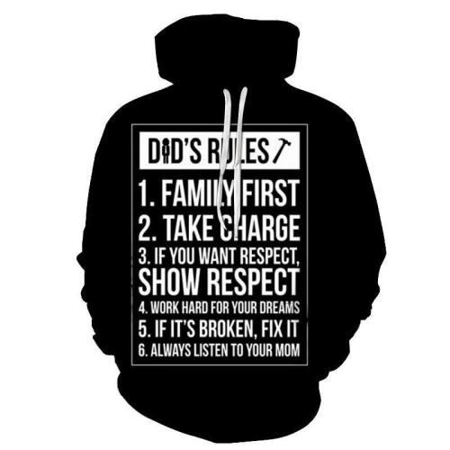 Dad'S Rules 3D Sweatshirt Hoodie Pullover