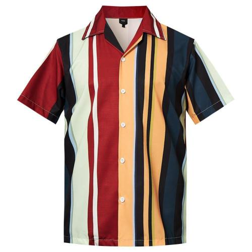 Men'S Hawaiian Shirt Colorful Stripe Printing