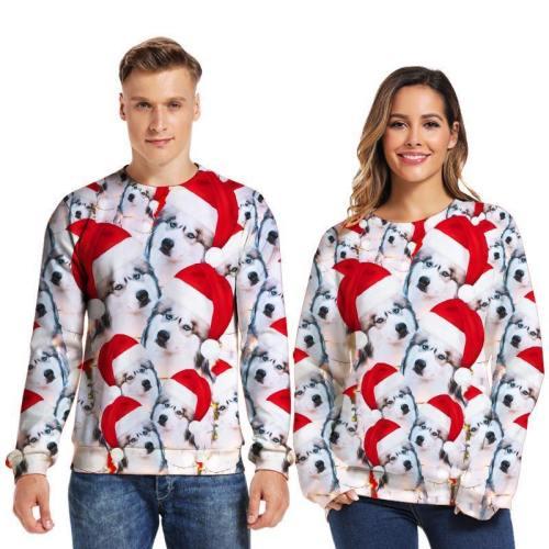 Mens Pullover Sweatshirt 3D Printed Christmas Dog Party Long Sleeve Shirts