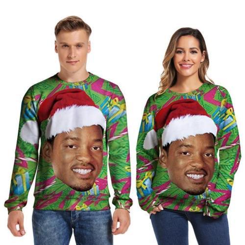 Mens Pullover Sweatshirt 3D Printed Merry Christmas Young Man Face Green Long Sleeve Shirts