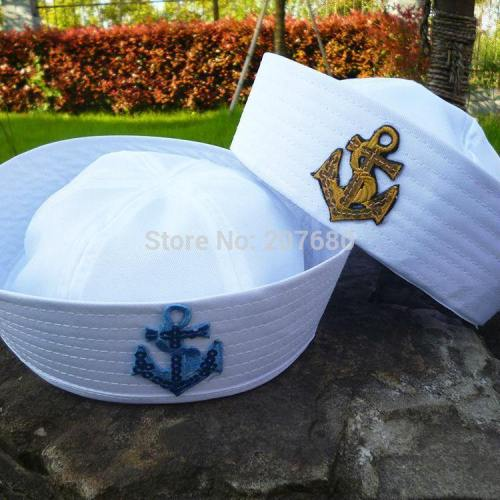 5Pcs Child White Sailor Navy Hat Cap With Anchor For Fancy Dress