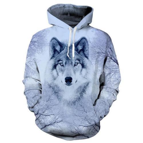 Mens Hoodies 3D Printing White Snow Wolf Printed Hooded