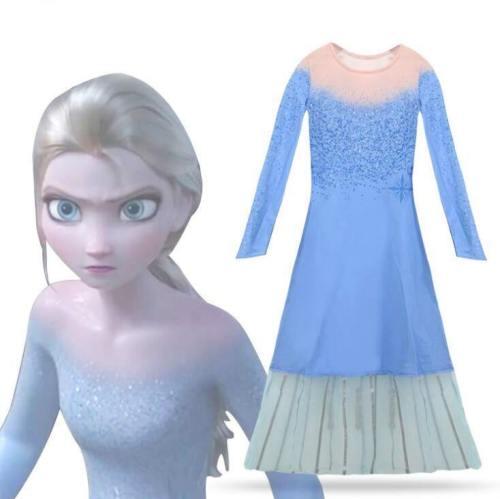 Queen Frozen 2 Elsa Dresses Movie Cosplay Costume Anna Princess Birthday Party Dress  Fancy Dresses Children Clothes