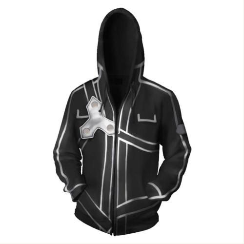 Sword Art Online Costume Halloween Anime Cosplay Zip Up Jacket Pullover Hoodie
