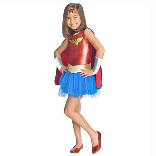 Deluxe Girl Wonder Woman Tutu Dress Outfit Toddler Girls' DC Superhero Fancy Dress with Cloak Halloween Costumes for Kids