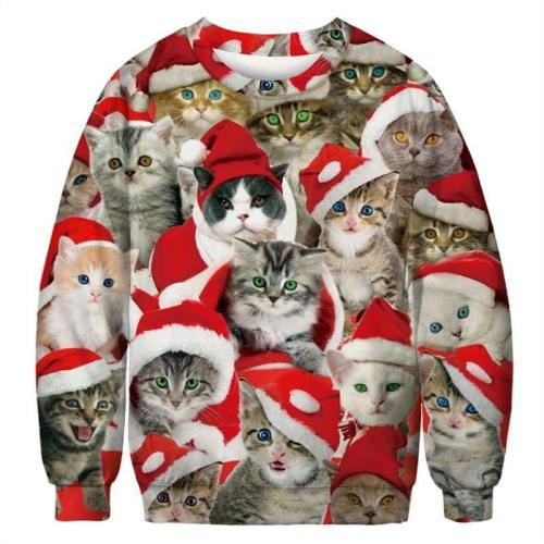 Mens Pullover Sweatshirt 3D Printed Christmas Cat Party Long Sleeve Shirts