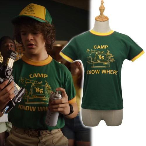 Stranger Things Dustin T-Shirt Kids Costumes Retro Mesh Trucker Top Yellow Green 85 Know Where Tee Cosplay Costume