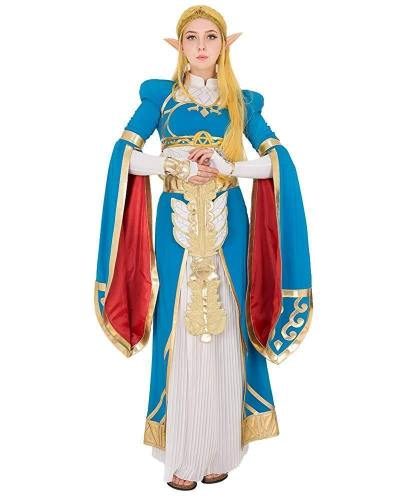 Women'S Princess Link Cosplay Costume Blue Outfit With Accessories