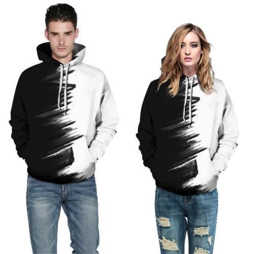 Mens Hoodies 3D Printed Black White Color Printing Hooded