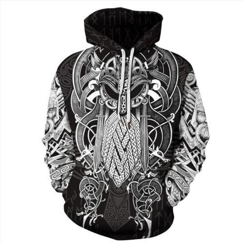 Mens Hoodies 3D Graphic Printed Viking Myth Pullover Hoodie