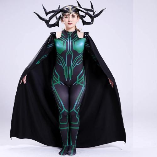 The Death Queen Hela Jumpsuit Costume Cloak Cosplay