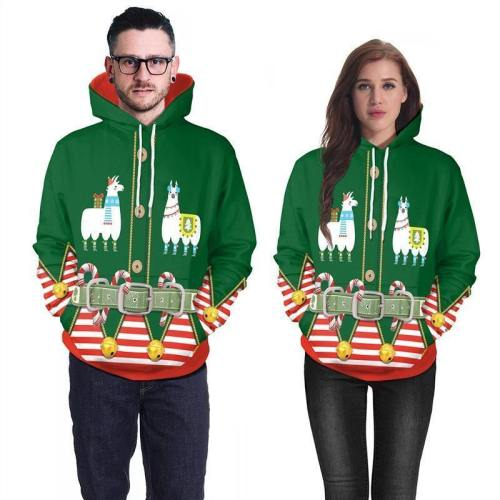 Mens Green Hoodies 3D Graphic Printed Merry Christmas Sheep Pattern Pullover