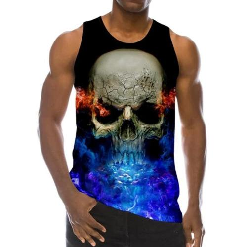 Mens Tank Tops 3D Printing Fire Skull Printed Vest