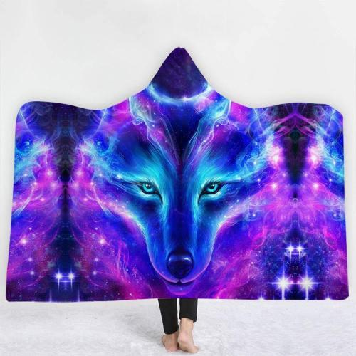 Galactic Wolf Hooded Blanket