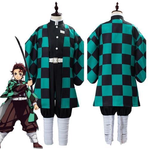 Anime Demon Slayer Kimetsu No Yaiba Kamado Tanjirou Uniform Outfit Cosplay Costume For Kids Children