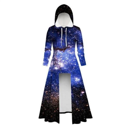 Womens Long Hoodies 3D Graphic Printed Blue Galaxy Pullover Sweater Dress