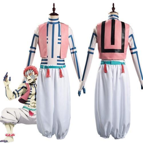 Demon Slayer: Kimetsu No Yaiba Hakuji/Akaza Men Vest Pants Outfits Halloween Carnival Suit Cosplay Costume