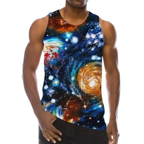 Mens Tank Tops 3D Printing Galaxy Stars Printed Vest