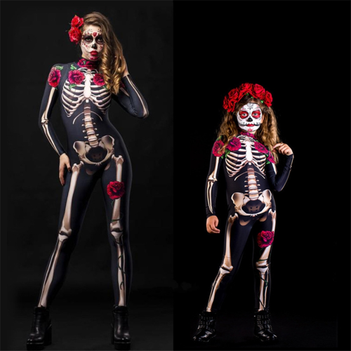 Halloween Rose Skeleton Scary Dress Day Of The Dead Jumpsuit Costumes