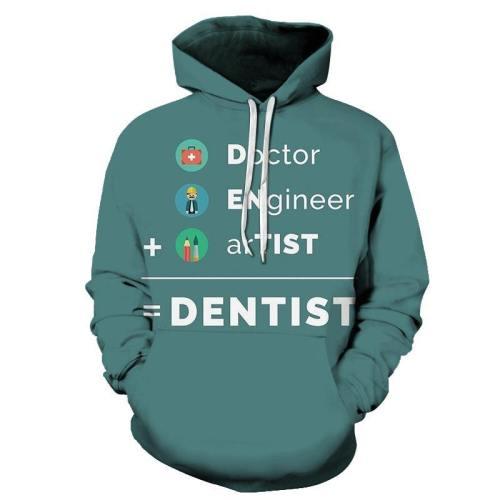 Cyan Dentist 3D Hoodie Sweatshirt Pullover