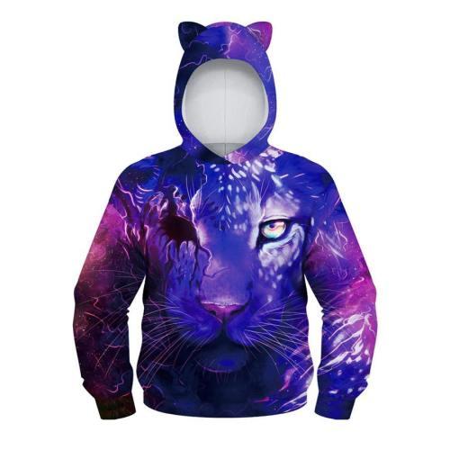 Teens Cute Bear Ear Hoodie 3D Printed Sweatshirt