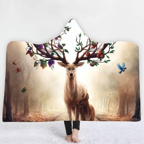Nature'S Majestic Deer Hooded Blanket