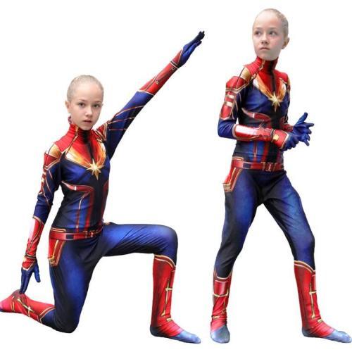 Captain Marvel Cosplay Costume For Kids Superhero 3D Halloween Jumpsuit