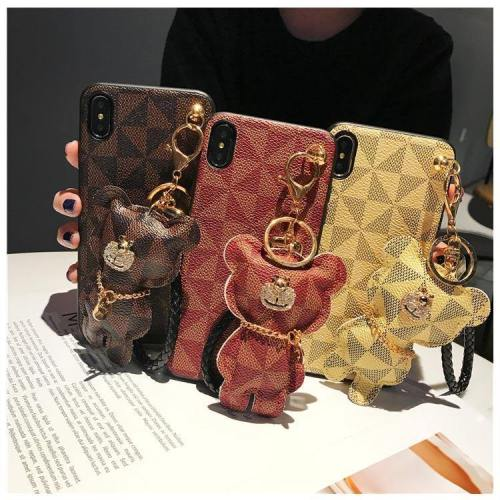 Luxury Pattern Leather Phone Case With Hanging Bear Hand Strap