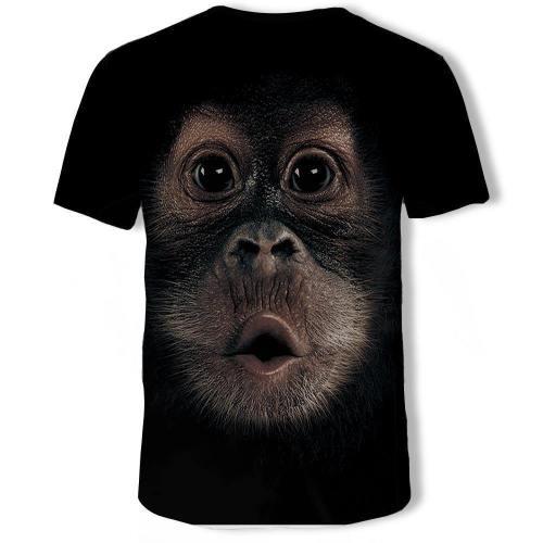 Mens T Shirt 3D Printing Monkey Face Printed Tee