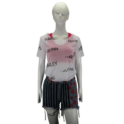 Birds Of Prey Harley Quinn Costumes Full Set Vest Short Pants T-Shirts Woman Halloween Cosplay Costume
