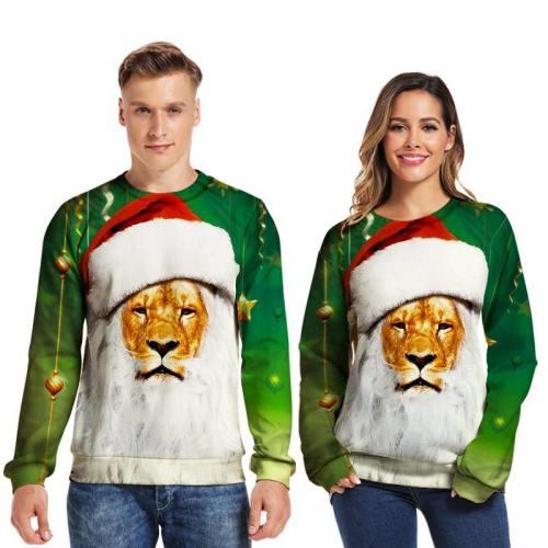 Mens Pullover Sweatshirt 3D Printed Christmas Peaceful Lion Long Sleeve Shirts