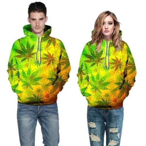 3D Print Hoodie - Maple Leaf Pattern Pullover Hoodie