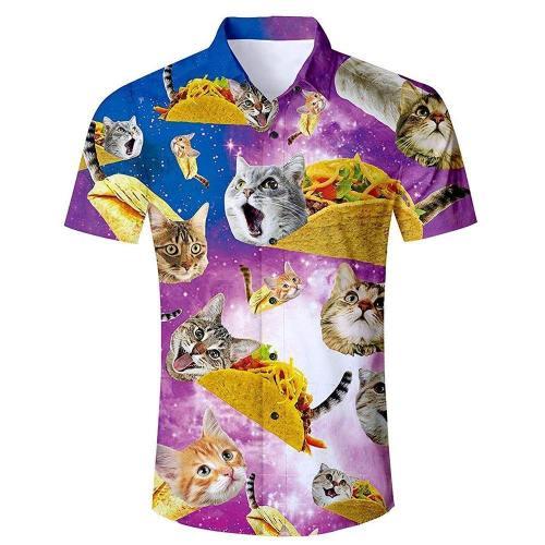 Men'S Tropical Beach Hawaiian Shirt Taco Pizza Cat Print