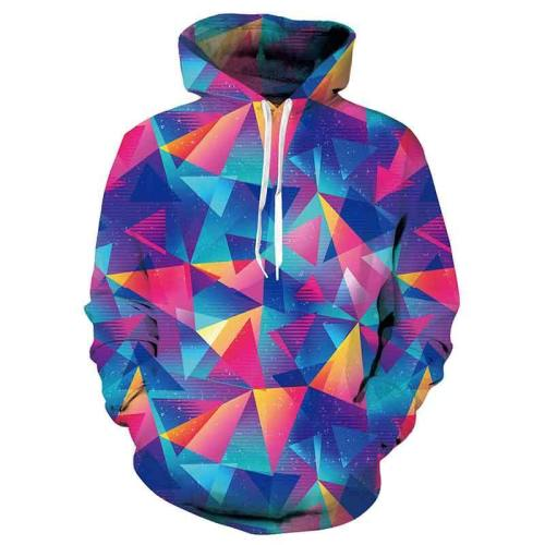 Mens Hoodies 3D Printed Triangle Pattern Printing Hoodies