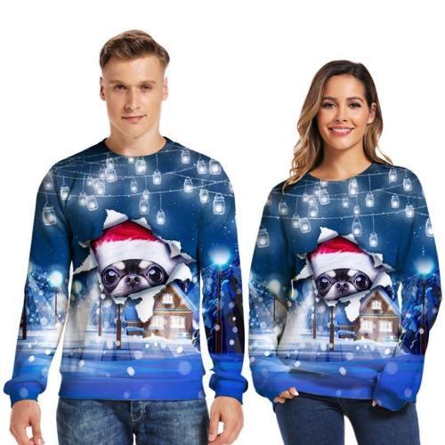 Mens Pullover Sweatshirt 3D Printed Christmas Curious Dog Long Sleeve Shirts