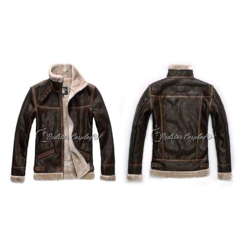 RE4 Coat Resident Evit 4 Leon Kennedy's PU Faux Leather Fur Jacket Cosplay Hoodie Costume