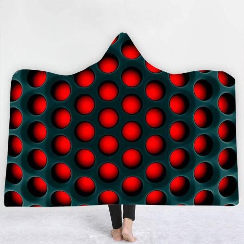 3D Hypnotic Holes Hooded Blanket