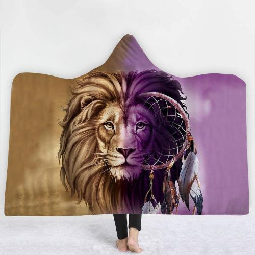 Tribal And Ethnic Lion Hooded Blanket