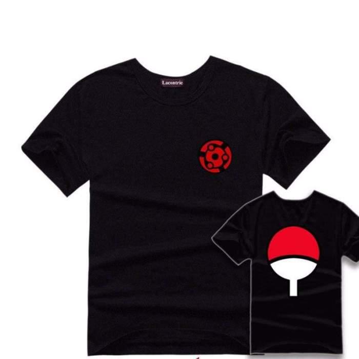 Fashion Anime NARUTO Akatsuki T Shirt Thin Short Sleeve Cotton Lover Casual Black T-shirt Cosplay Costume O-Neck