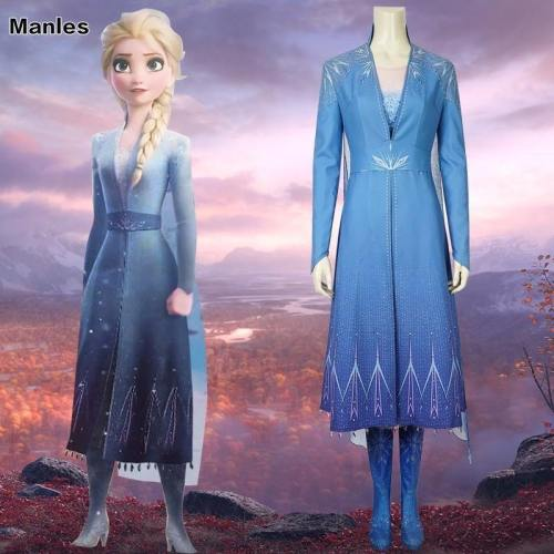 Frozen 2 Princess Elsa Costume Cosplay Fancy Dress Ice Snow Queen Grow Princess Girls Diamond Blue Dress Adult Halloween Carvinal Outfit