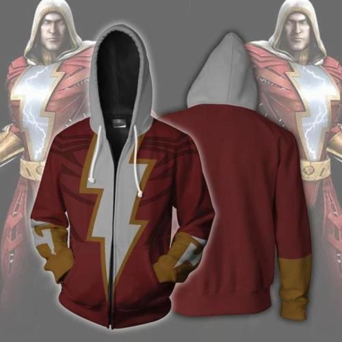 Shazam Hoodie Cosplay Zip Up Sweatshirt