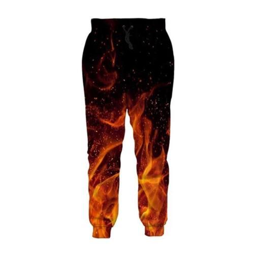 Mens Jogger Pants 3D Printing Burning Flame Pattern